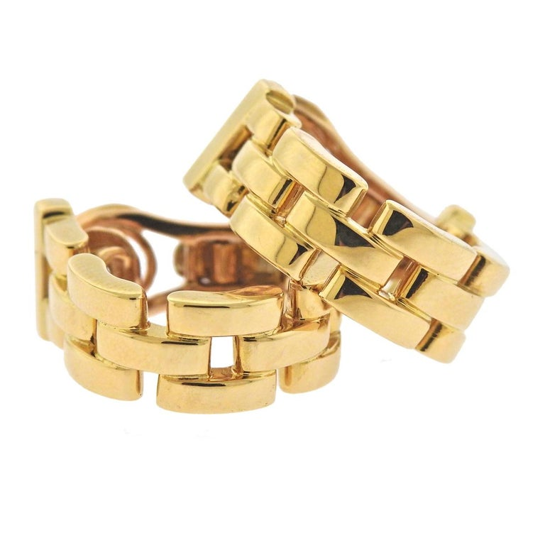 Cartier Maillon Panthere Gold Hoop Earrings