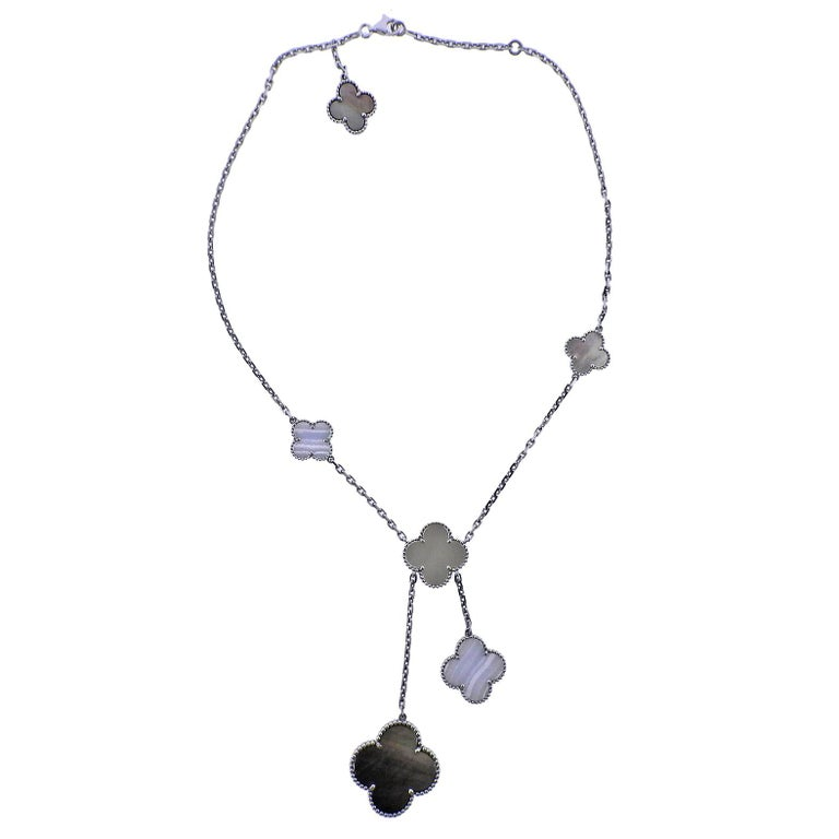 Van Cleef & Arpels Magic Alhambra Mother-of-Pearl Chalcedony Gold Necklace