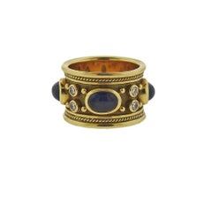 Elizabeth Gage Templar Sapphire Diamond Gold Ring