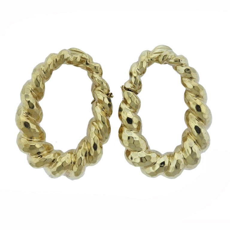 Large Hammered Gold Twist Hoop Earrings For