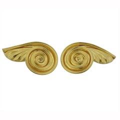 Lalaounis Greece Swirl Motif Gold Earrings
