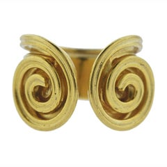 Lalaounis Greece Swirl Motif Gold Cuff Ring