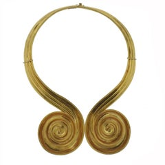 Lalaounis Greece Swirl Motif Gold Collar Necklace