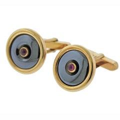 Bvlgari Bulgari Hematite Ruby Gold Cufflinks