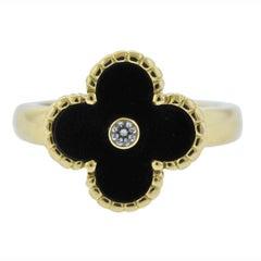 Van Cleef & Arpels Vintage Alhambra Onyx Diamond Gold Ring