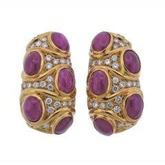 Giovane Ruby Diamond Gold Earrings