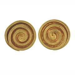 Lalaounis Greece Gold Swirl Earrings