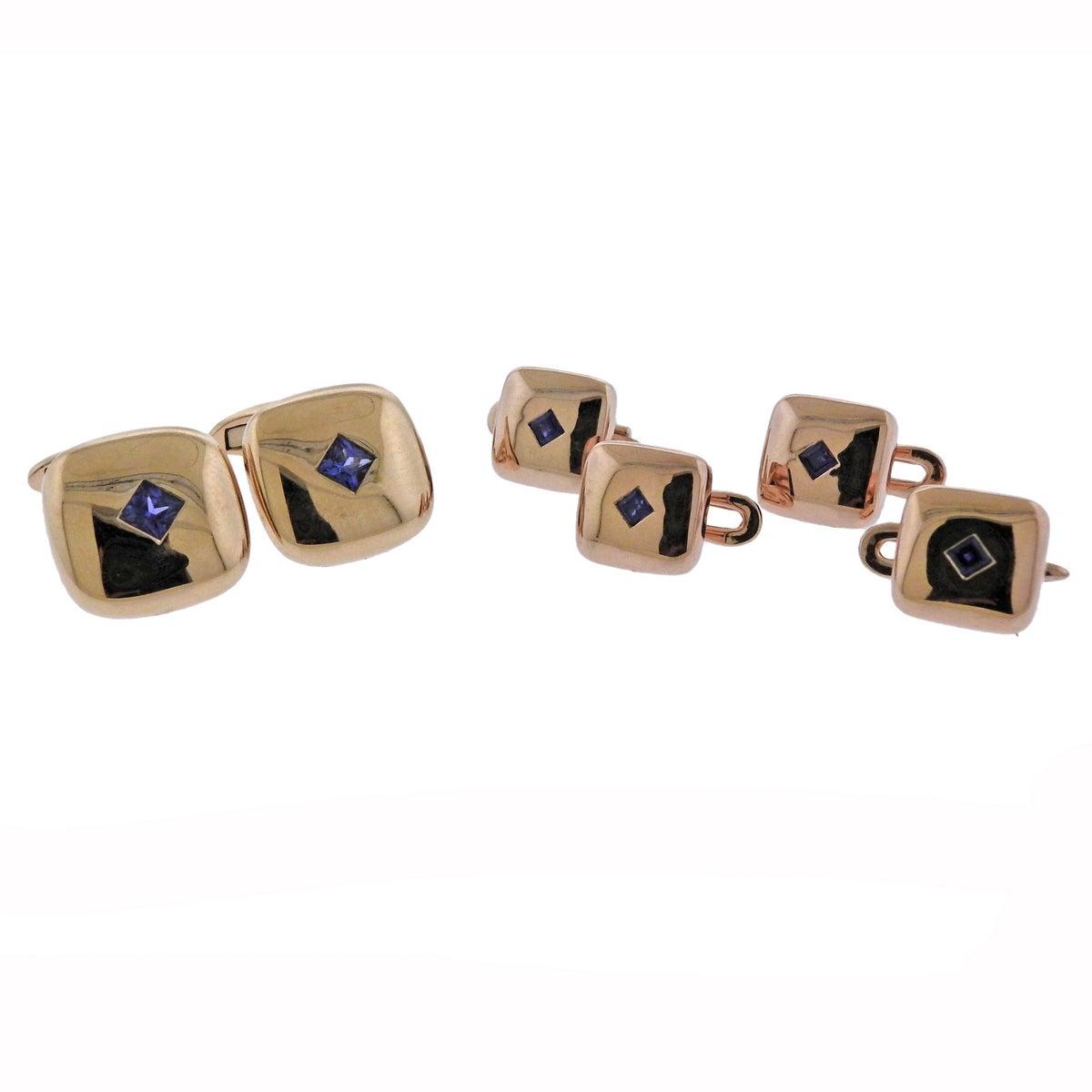 Sapphire Rose Gold Cufflinks Stud Set
