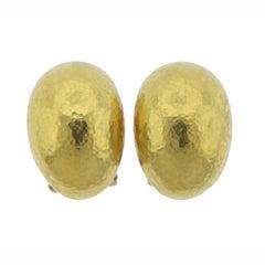 Elizabeth Locke Hammered Gold Half Hoop Earrings