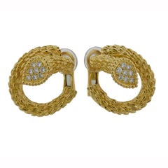 Boucheron Serpent Boheme Diamond Yellow Gold Earrings