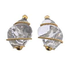 Seaman Schepps Crystal Gold Shell Motif Earrings
