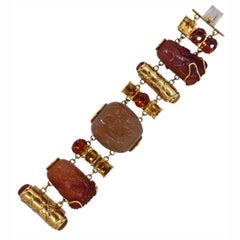 Seaman Schepps Snuff Bottle Chalcedony Citrine Gold Bracelet