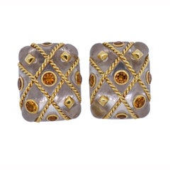 Seaman Schepps Cage Crystal Citrine Gold Earrings