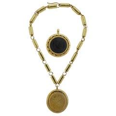 Elizabeth Gage Gold Diamond Julian II Charles II Coin Pendant Necklace Set