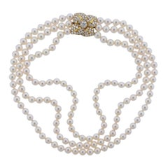 Mikimoto Diamond Pearl Flower Necklace