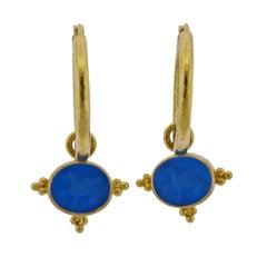 Elizabeth Locke Venetian Glass Intaglio Mother of Pearl Gold Hoop Earrings