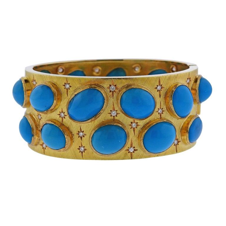 1960s Turquoise Diamond Gold Bangle Bracelet For Sale
