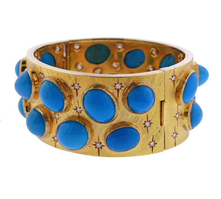 18k yellow gold bangle bracelet, decorated with turquoise gemstones and approximately 1.00ctw in GH/VS diamonds. 18k yellow gold bangle bracelet, decorated with turquoise gemstones and approximately 1.00ctw in GH/VS diamonds.  Bracelet will fit