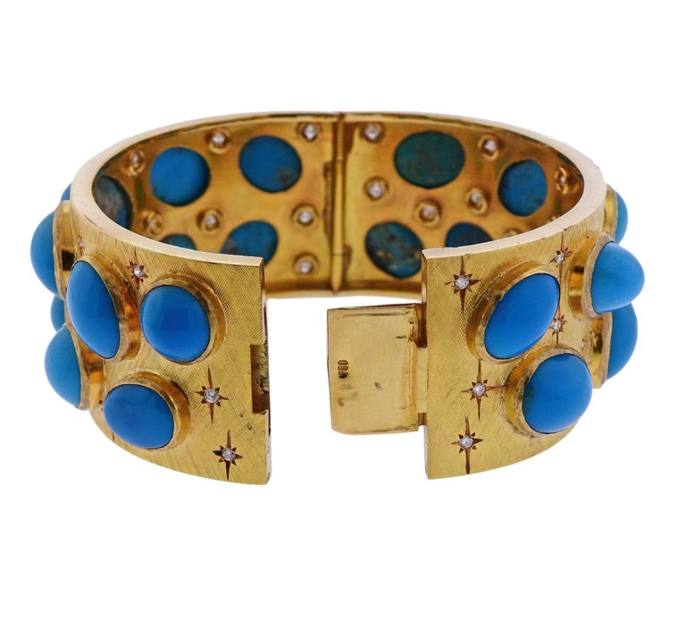 1960s Turquoise Diamond Gold Bangle Bracelet In Excellent Condition For Sale In Lahaska, PA