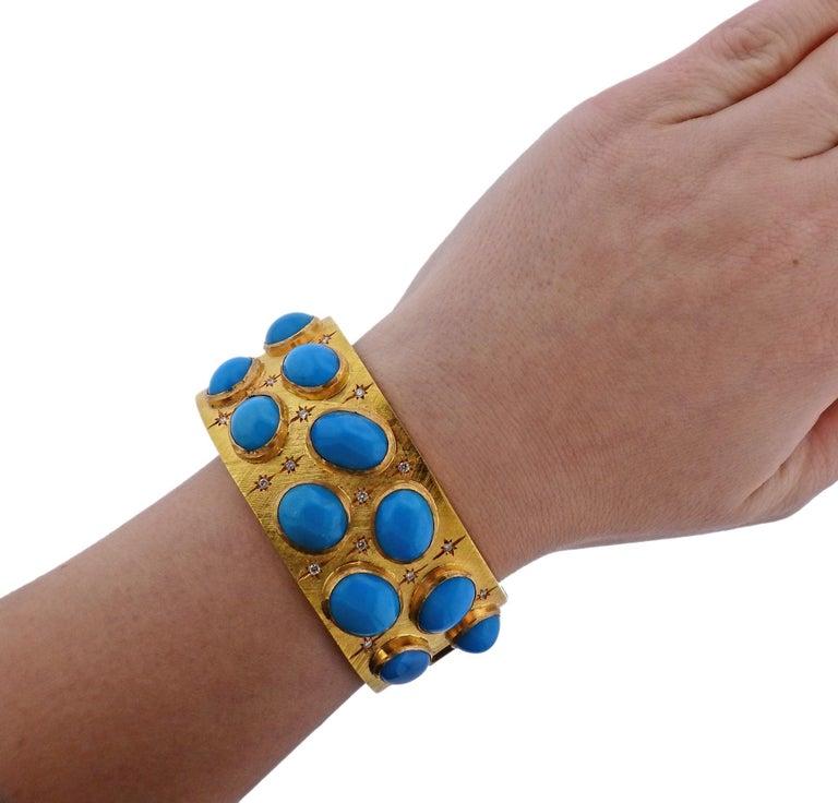 Women's 1960s Turquoise Diamond Gold Bangle Bracelet For Sale