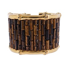 Mish New York Massive Tiger's Eye Diamond Bamboo Gold Cuff Bracelet