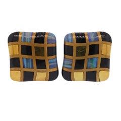 1980s Angela Cummings Opal Onyx Inlay Gold Checkered Earrings