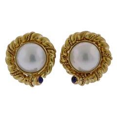 Tiffany & Co. Pearl Sapphire Gold Earrings