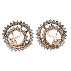 4.40 Carat Diamond Gold Swirl Earrings