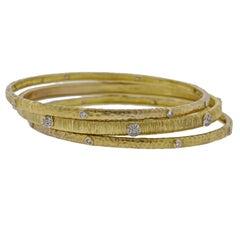 Diamond Gold Bangle Bracelet Set