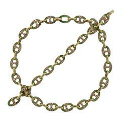 1980s Nephrite Diamond Gold Link Necklace Bracelet Suite