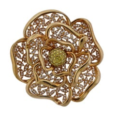 Diamond Gold Large Flower Brooch Pendant