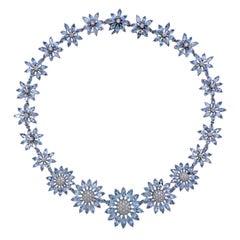 Asprey Heritage Daisy Aquamarine Diamond Gold Necklace
