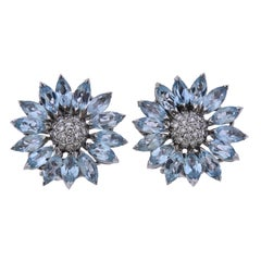 Asprey Heritage Daisy Aquamarine Diamond Gold Earrings