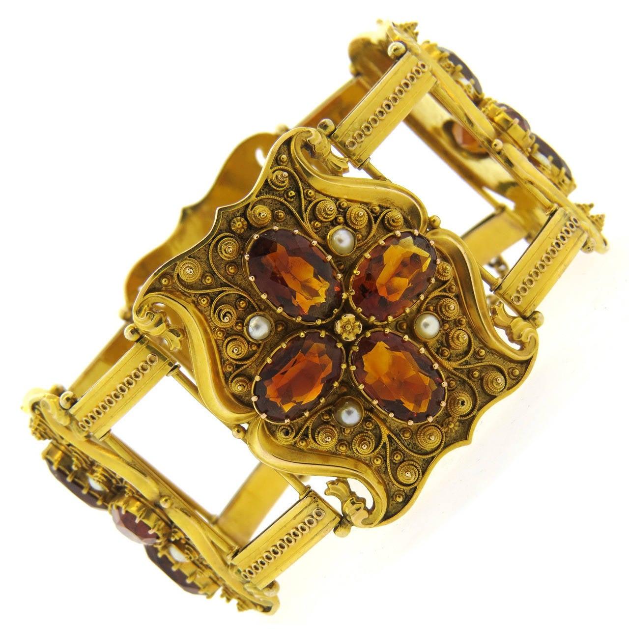 Antique 1850s Natural Pearl Garnet Gold Bracelet For Sale