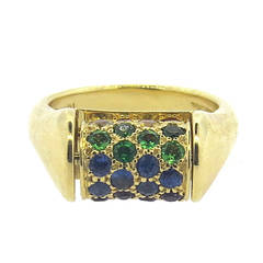 Whimsical Julius Cohen Multicolor Gemstone Gold Barrel Movable Ring