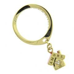 Pasquale Bruni Amore Enamel Diamond Gold Charm Ring