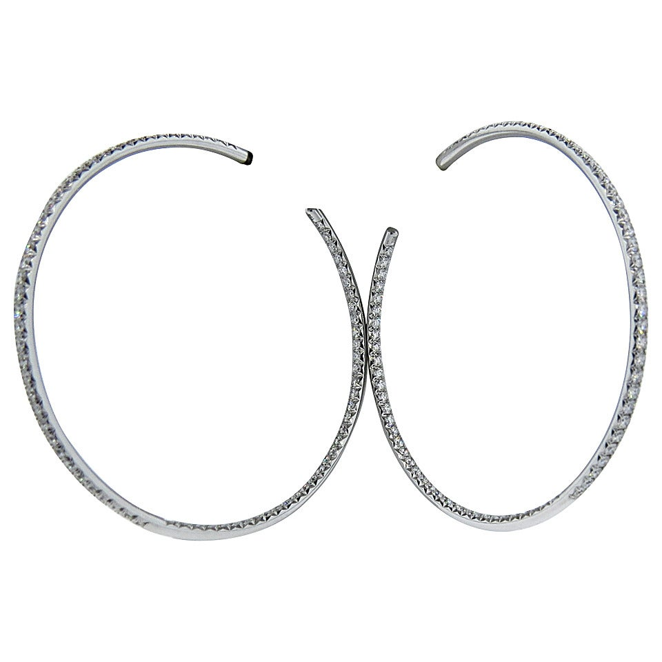 Chopard Large Inside Out Diamond Gold Hoop Earrings