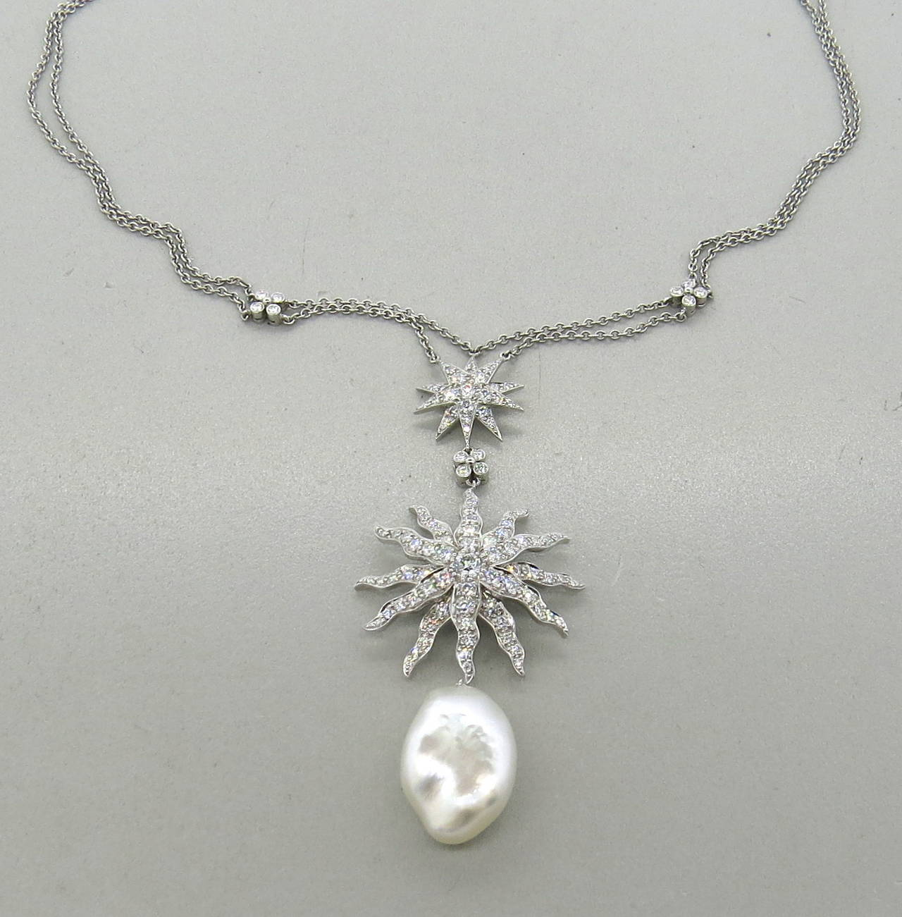Tiffany and co gorgeous pearl drop diamond platinum pendant tiffany co gorgeous pearl drop diamond platinum pendant necklace in excellent condition for sale aloadofball Images