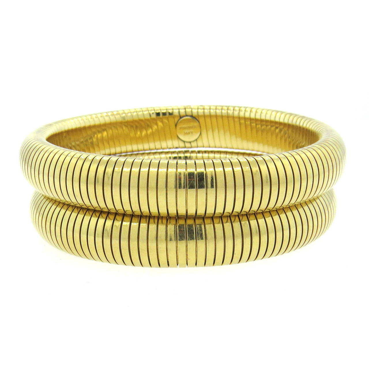 Circa 1940s Forstner 14k Gold Bracelet Set Each Bangle Will Fit Up To 7