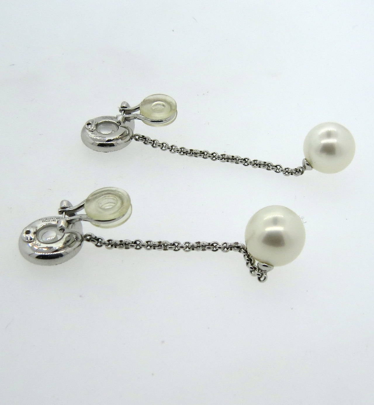 Chopard Floating Diamond Gold Pearl Long Drop Earrings 3