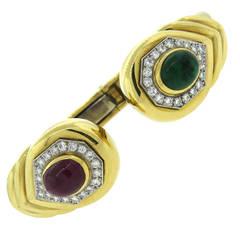 David Webb Ruby and Emerald Cabochon Diamond Gold Platinum Cuff Bracelet