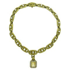 1977 Barry Kieselstein Cord Massive Citrine Diamond Gold Necklace
