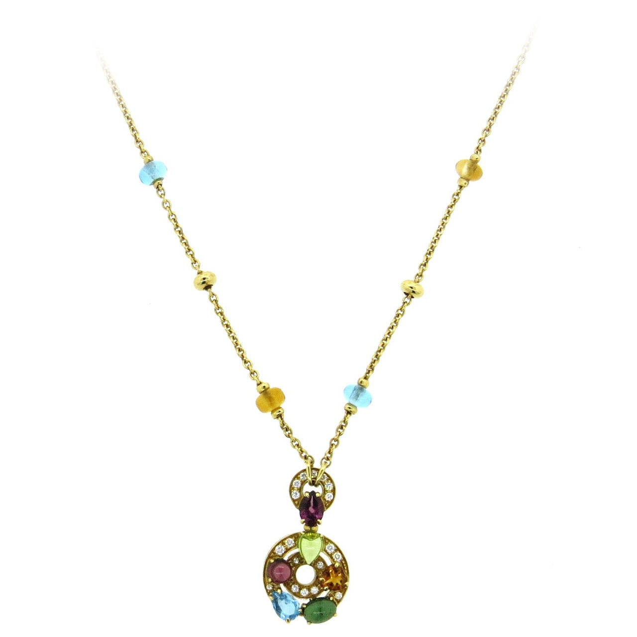 Bulgari Astrale Gem Set Diamond Gold Pendant Necklace