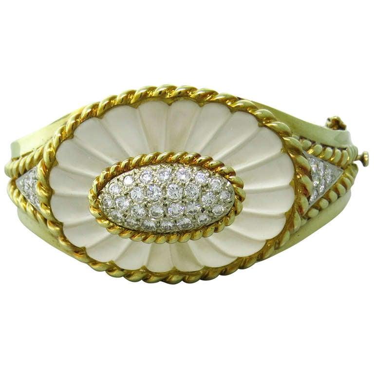 Carved Frosted Crystal Diamond Gold Bangle Bracelet For Sale