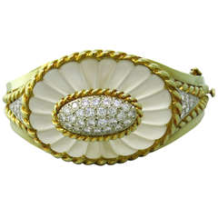 Carved Frosted Crystal Diamond Gold Bangle Bracelet