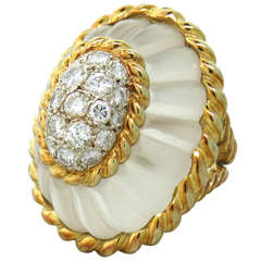 1960s Large Gold Carved Frosted Crystal Diamond Ring
