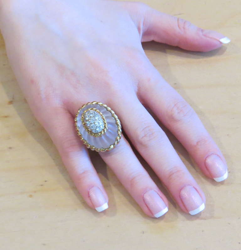 Women's 1960s Large Gold Carved Frosted Crystal Diamond Ring For Sale