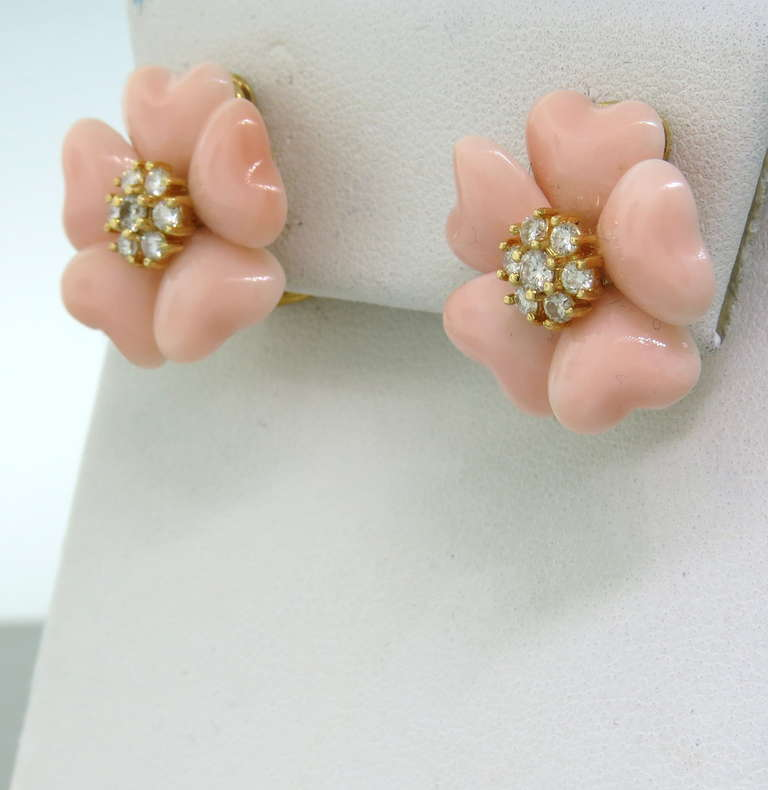 Adorable Angel Skin Coral Diamond Gold Flower Earrings 2