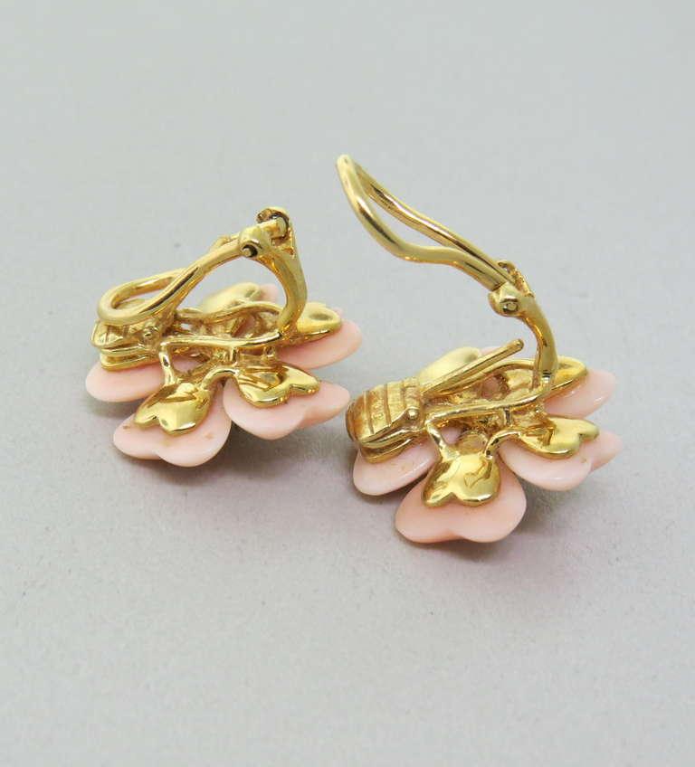 Adorable Angel Skin Coral Diamond Gold Flower Earrings 3