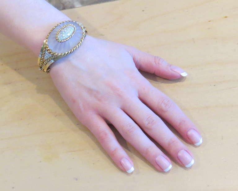 Women's Carved Frosted Crystal Diamond Gold Bangle Bracelet For Sale